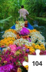Jigsaw puzzle - Bloemen over het water