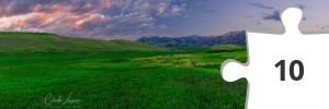 Jigsaw puzzle - Claudia Lungauer- A Small Towns Treasure  Panorama of Bridger Range Mountains in Bozeman, Montana at sunset
