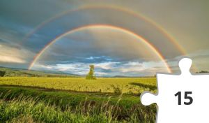 Jigsaw puzzle - Double Rainbow and Crop Field by James Wheeler