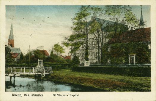 Ansichtkarte St. Vincenz-Hospital, koloriert ca. 1941